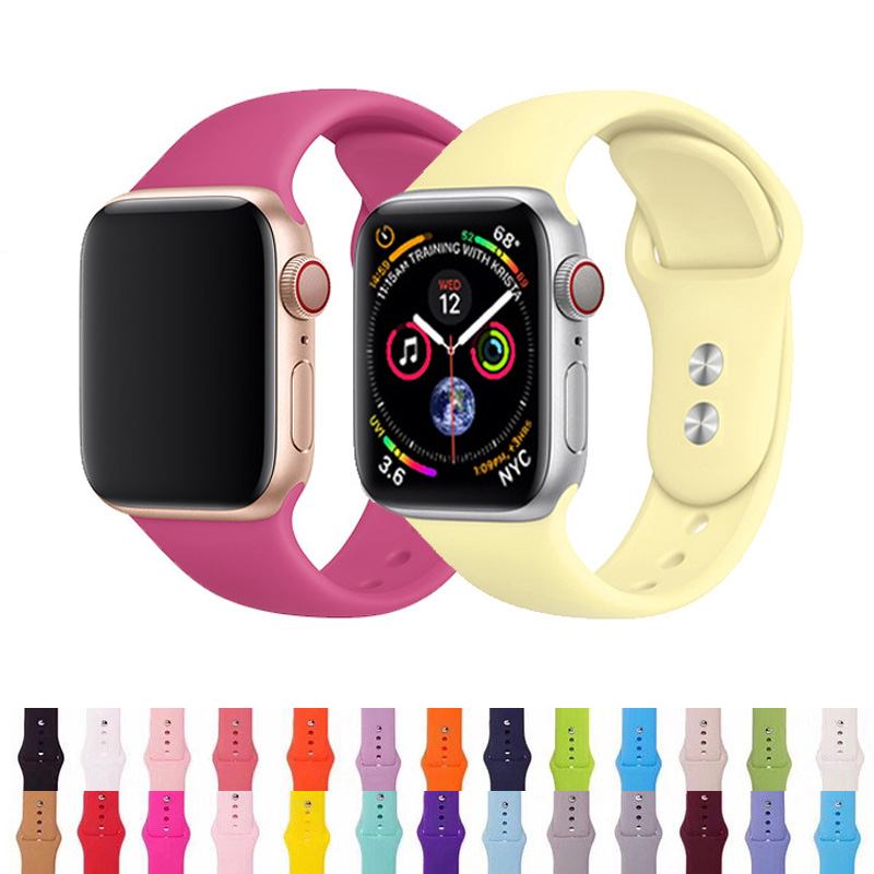 Watch Band For Apple Watch 44mm Silicone Strap For Iwatch Series 5 4 3 2 1 Wirst Bracelet 38mm Replacement Band 40mm Sport 42mm