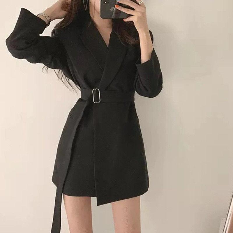 Korean solid Women Work Blazer Jacket Casual Double-breasted Sashes Suit Jacket Female 2020 Slim Female Blazer Outwear