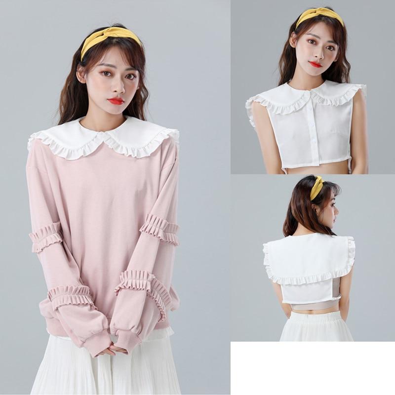 2020 Fake Collar For Girls Women Detachable Removeable Collar Cute Chiffon Large Adjustable Peter Pan Collar Women Clothing