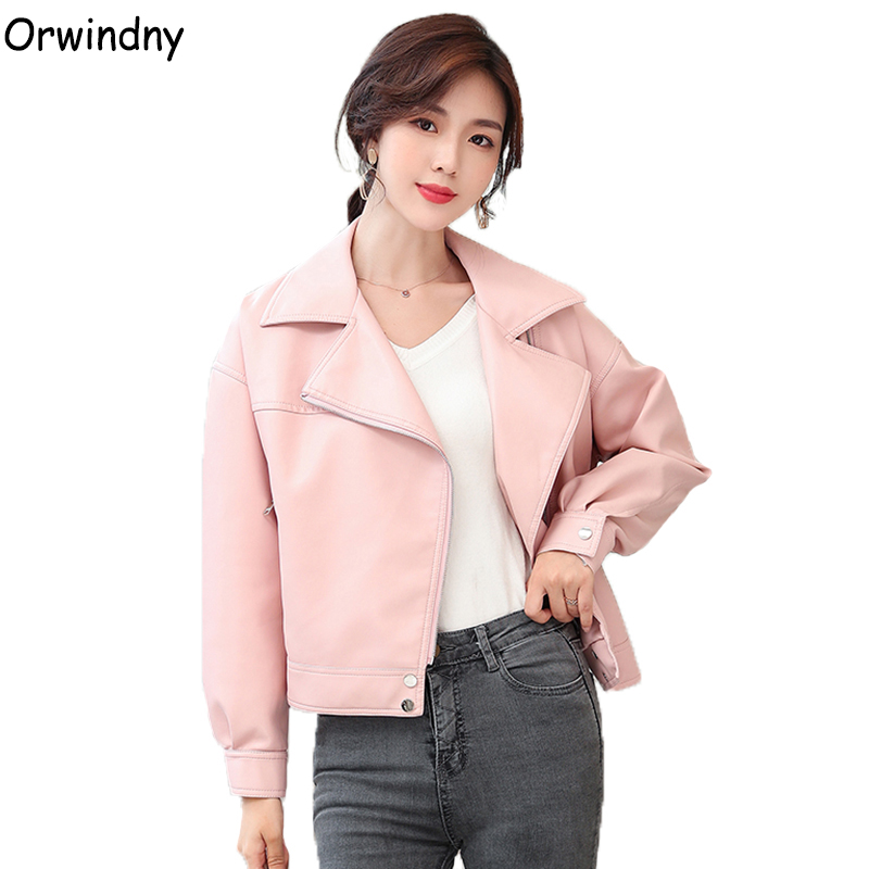 Orwindny Spring And Autumn   Leather   Jacket Sweet Pink Women's   Leather   Jacket Turn-down Collar Clothing Outerwear Female Jackets