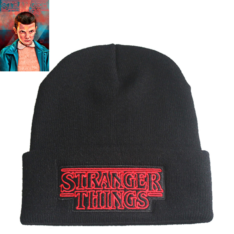 Stranger Things Beanie Hat Keychain Cosplay Props Unisex Winter Dustin Black Knit Cap Embroidered Hats
