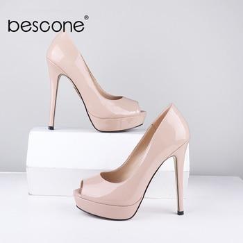 BESCONE Women Pumps Sexy Peep Toe Elegant Length Leg Super High Heels Solid Party Dress Pumps Concise 2.5cm Platform Shoes BC725