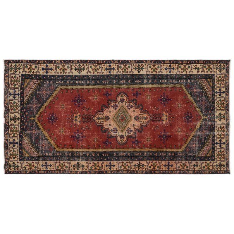 Handmade Natural Vintage Turkish Area Rug 158x303 Cm-5'2''X9'11''