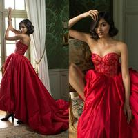 Sweetheart Red Prom Dresses Illusion Lace Sequined Top Side Split Party Evening Dress 2020 Vestidos Cocktail Pageant Gowns