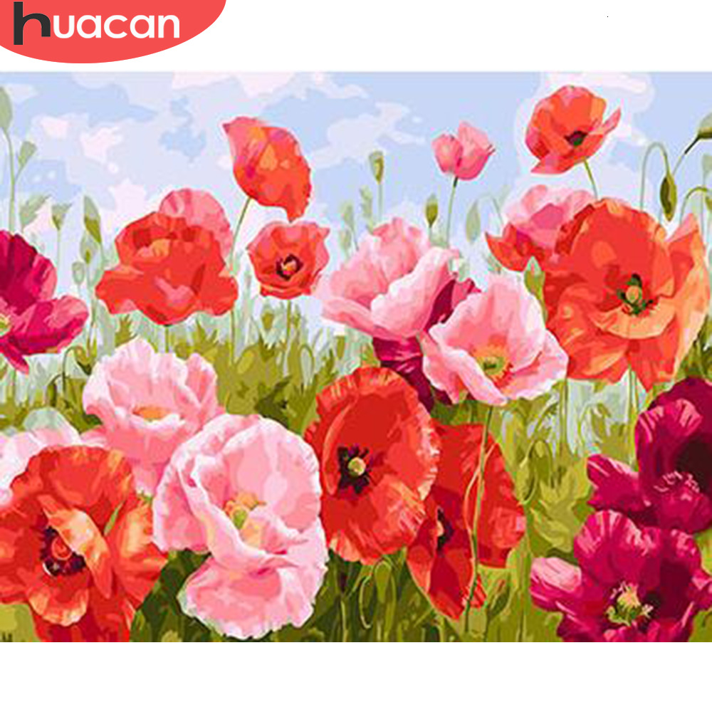 HUACAN Oil Painting By Numbers Flower HandPainted Art Dawing On Canvas Picture Kits DIY Home Decoration Gift