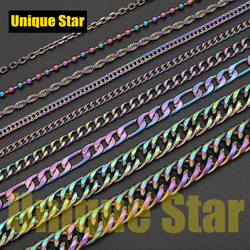 3pcs/lot Steel Rainbow Plated Basic Necklace Chain Wholesale 100% Stainless Steel Foxtail Figaro Rope Hip Hop Necklaces Chains