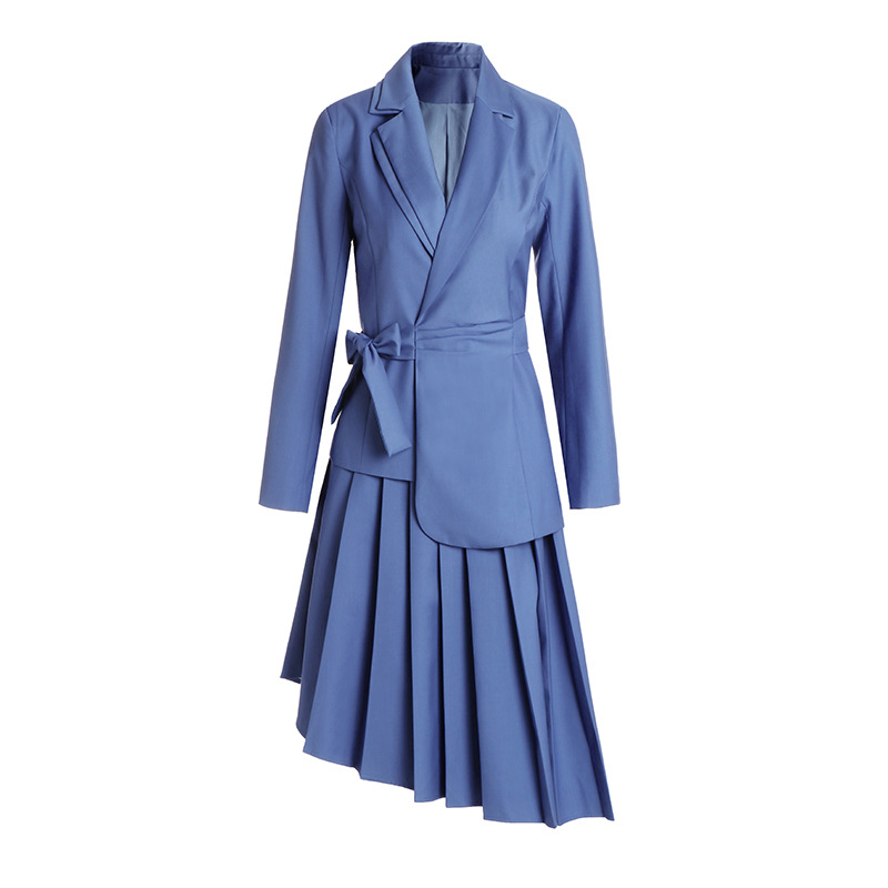 Skirt Suits 2 Piece Set Women Office Ladies Formal Work Long Sleeve Blazer Suit Jacket Spring Autumn Fall Pleated Midi Skirt
