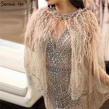 Vestidos de Noche formales sexis de lujo de sirena con plumas de hilo chal sin mangas color carne plateado 2020 Serene Hill LA70171