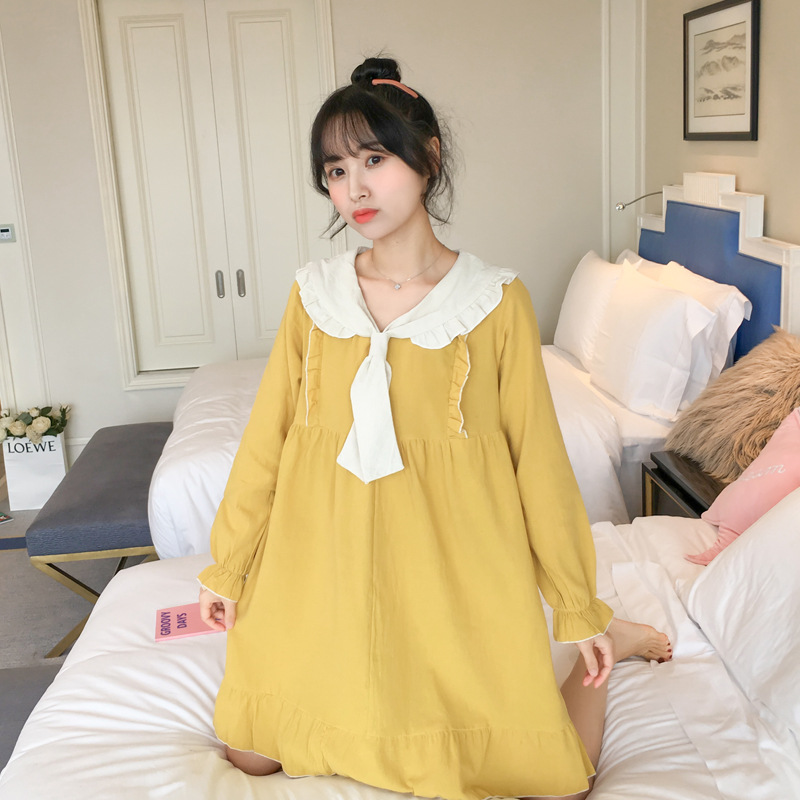 2020 Spring And Autumn New Products Peter Pan Collar Lace Sweet Ladies' Nightgown Comfortable Loose Robe Bathrobe