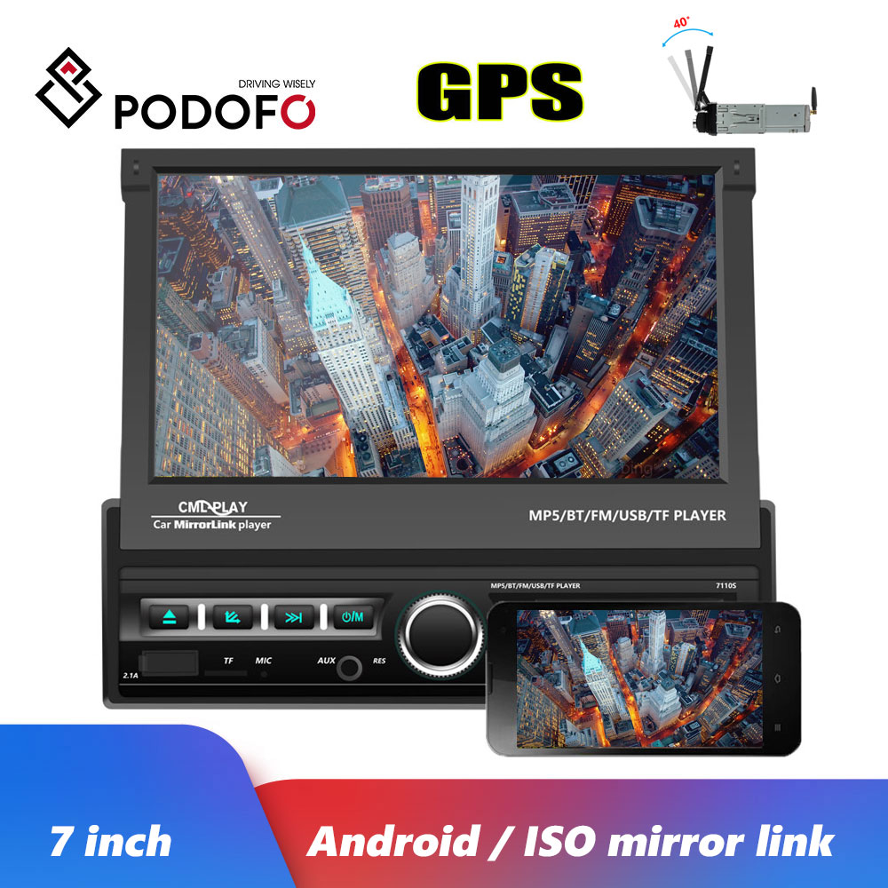 Podofo 1 Din 7'' Car Radios GPS Autoradio Android Mirror Link Car Multimedia Player Touch Screen Bluetooth USB FM AUX Stereo image