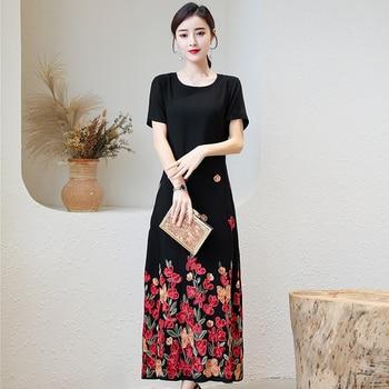 Plus Size Women Dress 2020 Summer Long Dress Embroidery Vintage  Loose Casual Elegant Short Sleeve Dress Women цена 2017