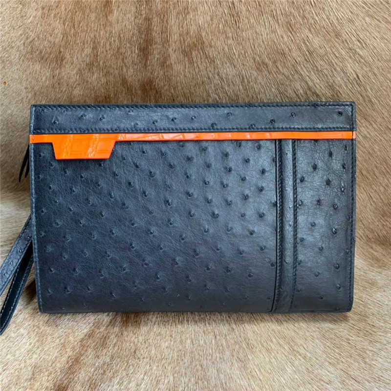 Authentic Real Ostrich Skin Businessmen Casual Black Day Clutch Wristlets Purse Genuine Exotic Leather Male Large Card Bag
