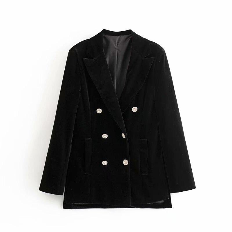 Women Blazer And Jackets Double Breasted Velvet Blazer Coat Vintage Long Black Blazers Ladies Office Jacket Women Spring 2020