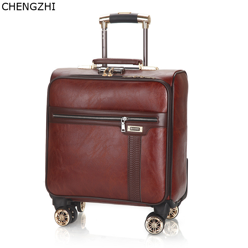 CHENGZHI Vintage Men Business Rolling Luggage Spinner 18inch Cabin Trolley Password Suitcase Wheels PU Leather Travel Bag