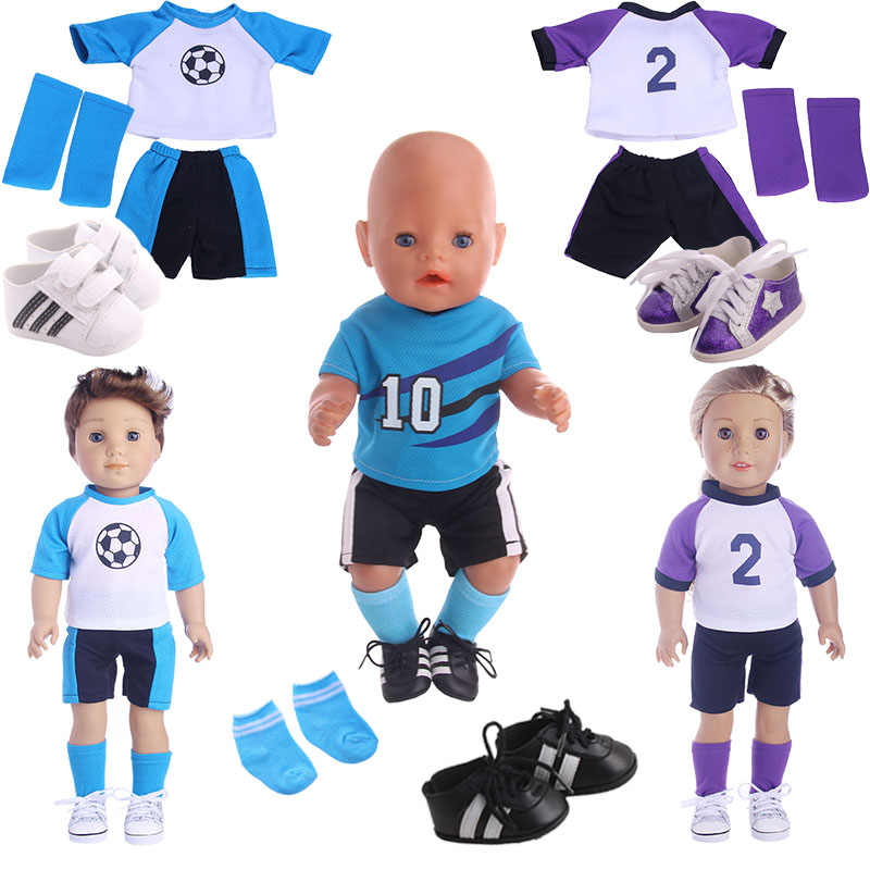 Football Soccer Clothing Fit 18 Inch American&43 CM Baby Doll Clothes Accessories,Girl's Toys,Generation,Gift,Only Clothes