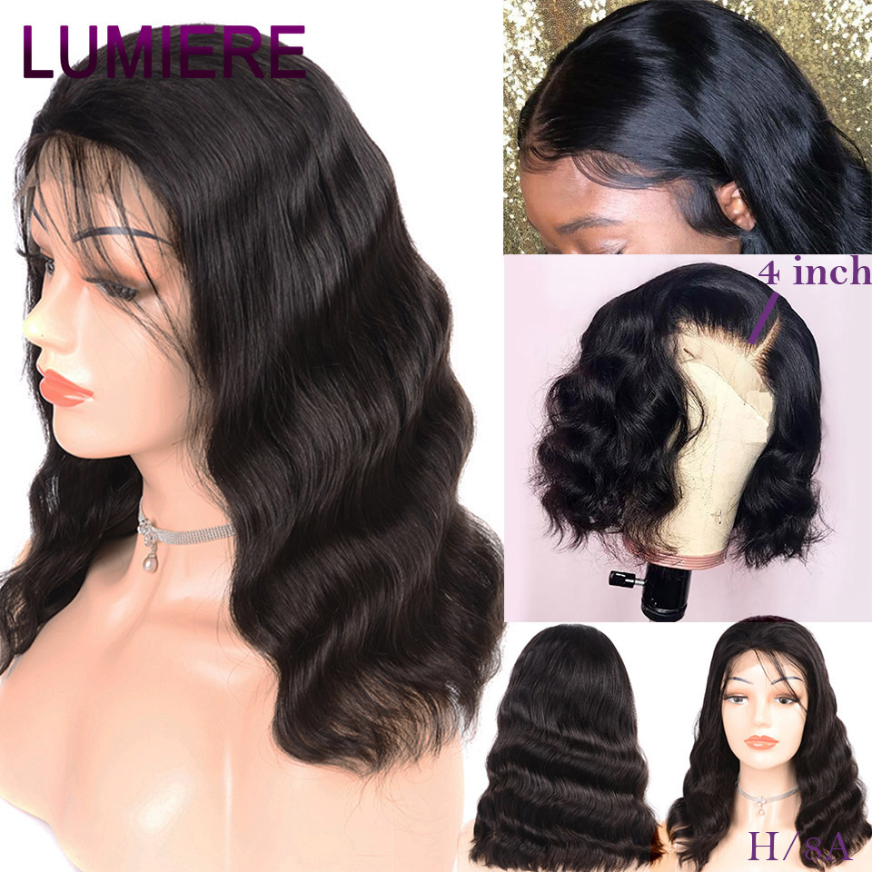 Lumiere Short Human Hair Wigs Peruvian Body Wave Wig Hair Pre Plucked Hairline 8 14 Inch Short Bob 13x4 Lace Front Wigs Remy Human Hair Lace Wigs Aliexpress