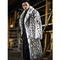 2019 New Mens Fox Fur Coat Fashion Long Fur Jacket Suit Collar Leopard Fur Coat Mens Winter Coats White Plus Size Parkas