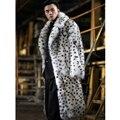 2019 New Mens Fox Fur Coat Fashion Long Fur Jacket Suit Collar Leopard Fur Coat Mens Winter Coats White Plus Size Parkas