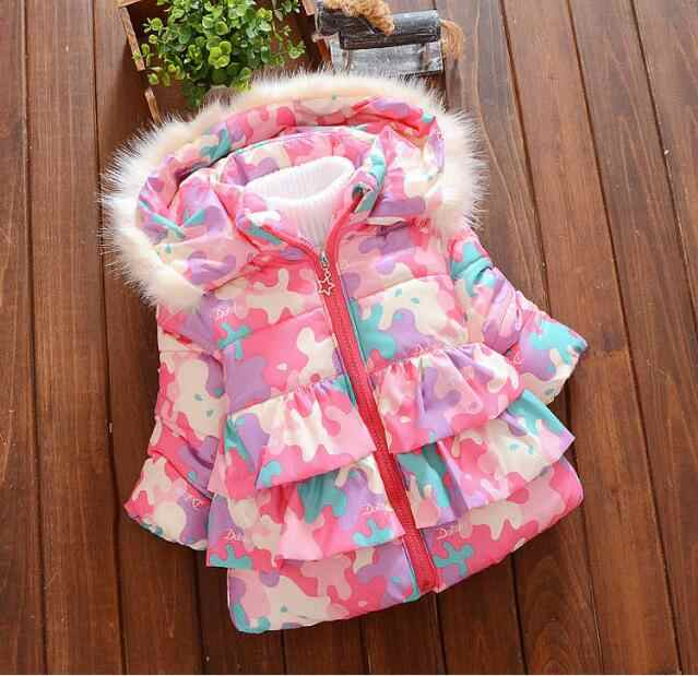 toddle kids down&parkas fleece outerwear infant cartoon snow wear baby girls jackets winter warm thick hoodies coats