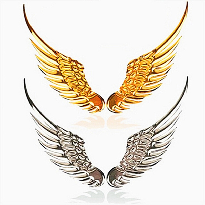 1pair Car Auto Motorcycle Body Sticker 3D Eagle Angel Wings Badge Style Metal Aluminum Decals Silver/Gold Exterior Accessories