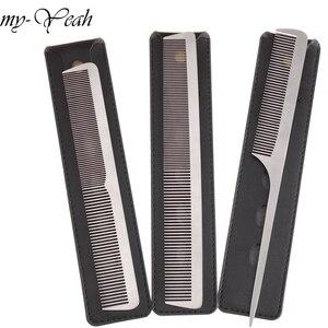 Image 1 - 3 Stijl Metalen Kam Detangling Hairstyling Rechttrekken Sectie Kam Kapper Haircutting Kammen Met Lederen Case Diy Thuis
