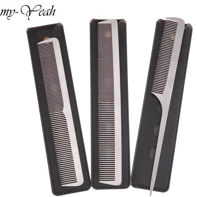 3 Stijl Metalen Kam Detangling Hairstyling Rechttrekken Sectie Kam Kapper Haircutting Kammen Met Lederen Case Diy Thuis