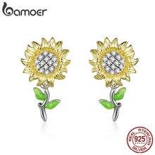 bamoer Genuine 925 Sterling Silver Sunflower Stud Earrings for Women Je