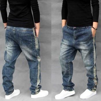 Koreański mody elastyczne szarawary dżinsowe boczne paski mężczyźni dorywczo luźna, workowata spadek krocza Denim spodnie joggery spodnie hip hopowe ubrania