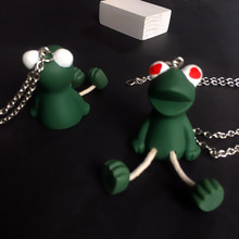 korean Creative personality Cute couple long necklace with legs frog pendant statement animals accessories new