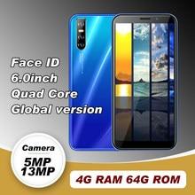 Telefone celular a50s global smartphones mtk quad core telefones celulares android 4g ram 64g rom 2sim 6.0