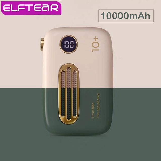 ELFTEAR T37 Mini banco de energía 10000Mah lindo Retro Delgado LED Digital Powerbank carga rápida para Iphone Samsung batería externa