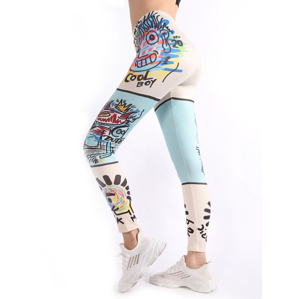 Yeedee New Workout Leggings Fashion Legging Graffiti Printing Leggins Women Fitness Running Gym Pants Dropshipping Wholesale