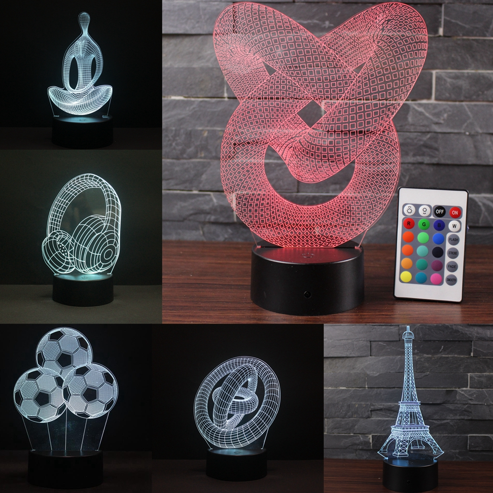 3D LED Night Light Meditation Abstract Ring Tower 16 Color Changable Hologram Novelty USB Lamp For Home Decoration Visual Gift
