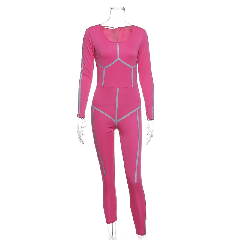 Осенний светоотражающий полосатый Облегающий комбинезон с длинными рукавами для женщин уличная сексуальная розовая черная облегающая комбинезон Модный Блестящий Комбинезон