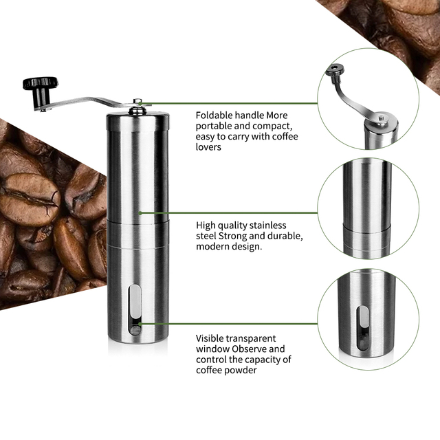 Silver Hand Held Conical Burr Coffee Grinder 4