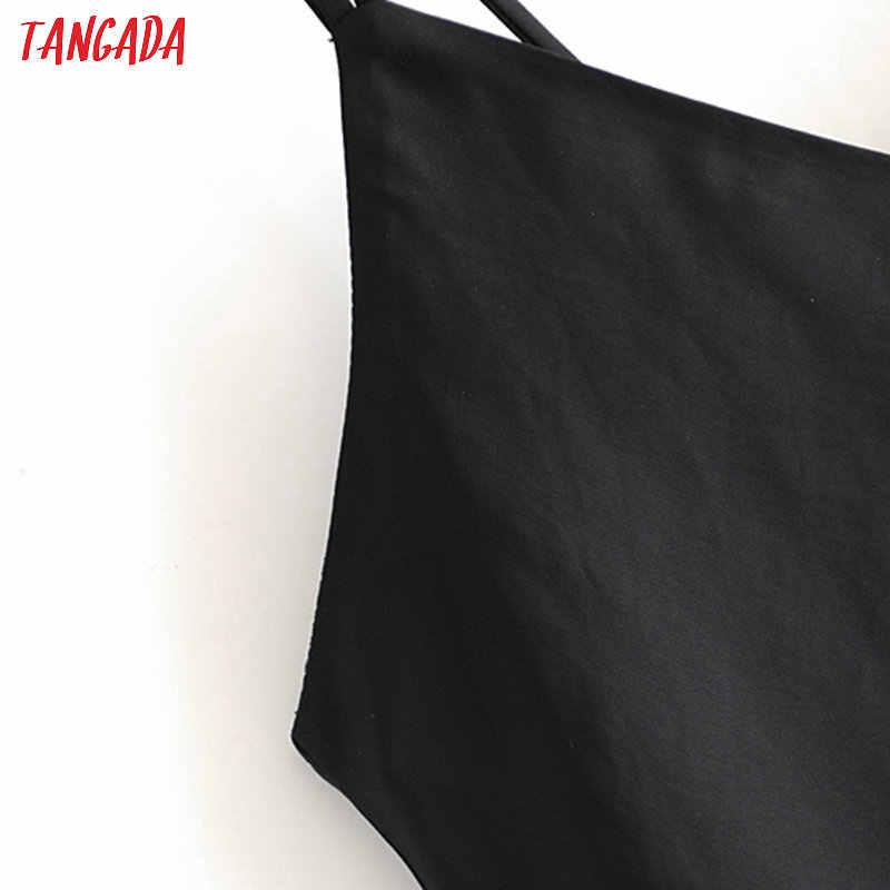 Tangada Mode Vrouwen Zijden Look Zwarte Jurk Backless Mouwloze Dames Vintage Midi Jurk Vestidos 3H244