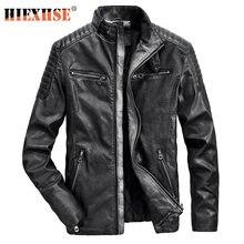 Мужские кожаные куртки hiexhse мотоциклетные с воротником стойкой