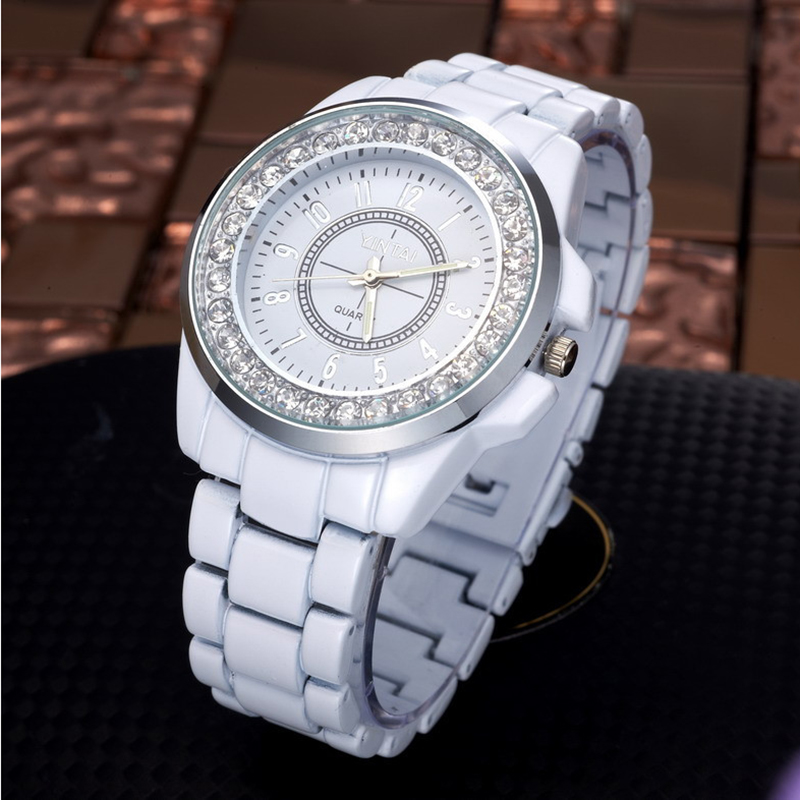 White Watches Women Crystal Watches Imitation Ceramic Band Quartz Wristwatches Fashion Ladies Watches Reloj Mujer Dames Horloges