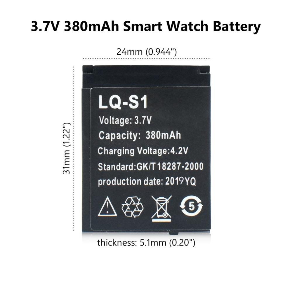 Durable Smart Watch Battery 1Pcs LQ-S1 3.7V 380mAh Lithium Rechargeable For DZ09 W8