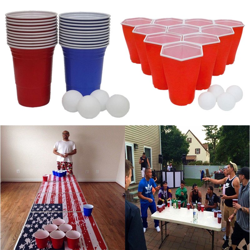 50 Pcs Odorless Tasteless Plastic Beer Pong Cups BeerPong Party Mug Camping Christmas Birthday Party Supplies Props With Balls