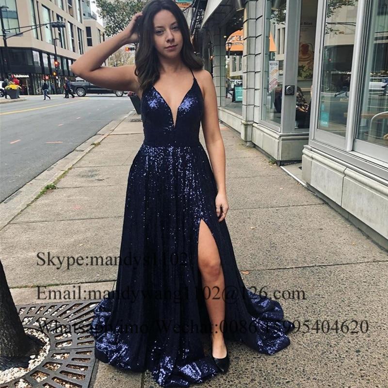 Mbcullyd paillettes bleu marine robes de soirée longue 2020 Sexy fendu robe africaine robes de bal pour les femmes Vestidos de fiesta de noche - 5