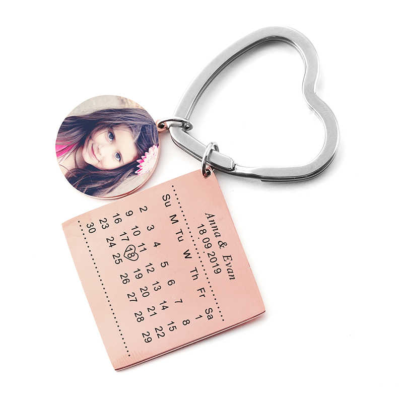 Calendário personalizado do nome da foto do calendário da foto do costume privado de aço inoxidável do ciclo do chaveiro com keyring da data do coração