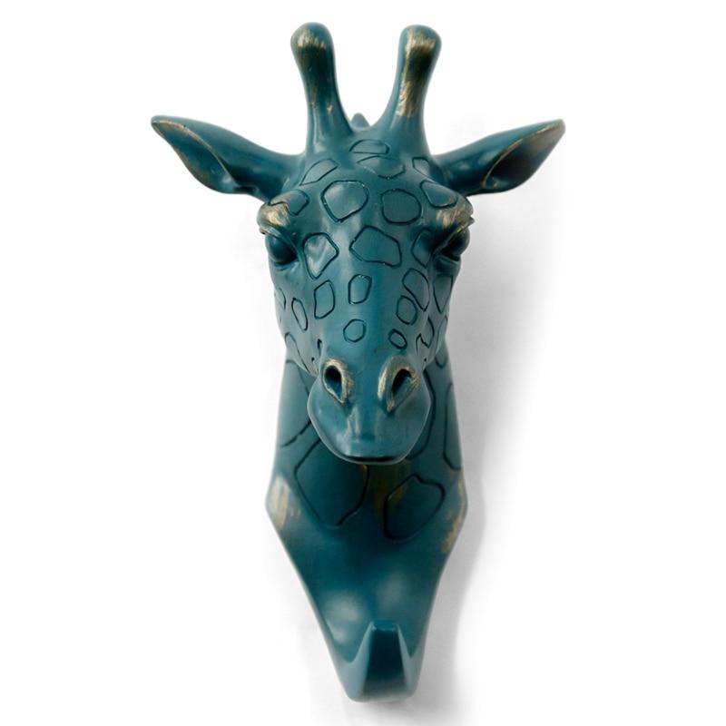 Giraffe Head Single Wall Hook/Hanger Animal Shaped Coat Hat Hook Heavy Duty  Rustic  Decorative Gift  Rustic Bronze Color Hooks & Rails     - title=