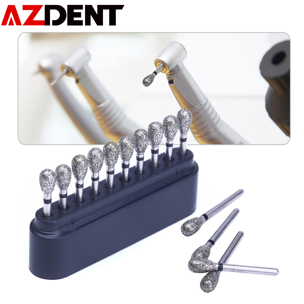 NEW AZDENT 10 Pcs/set Dental Diamond Burs Drills High Speed Handpiece Polishing Whitening Tools Dental Burs For Teeth Whitening