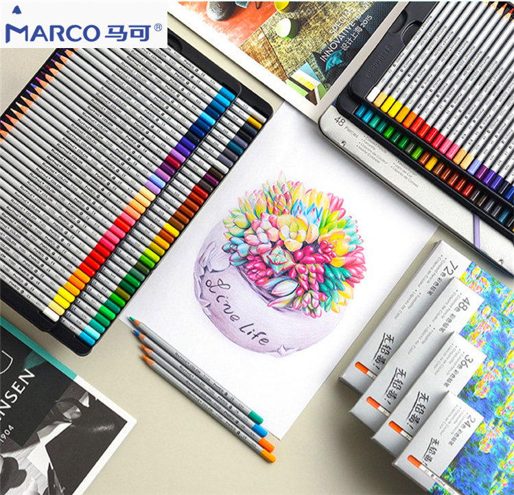 Marco Raffine 7100-24/36/48/72 Erasable Oil / Water Color Lead Wooden Pencil Set Beginner Professional Painting Artist