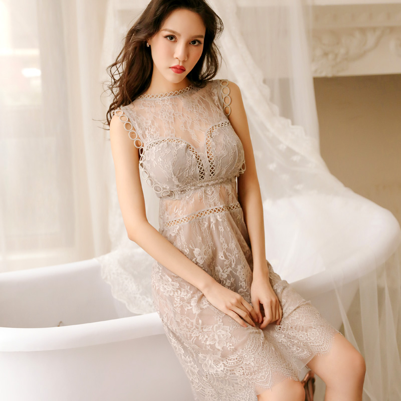 Yhotmeng 2019 new lace temptation sexy pajamas sweet fairy style openwork straps nightdress set four colors in Robe Gown Sets from Underwear Sleepwears