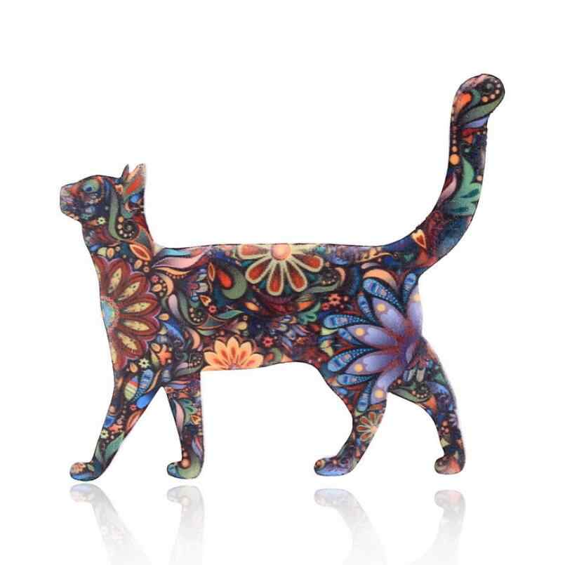 2020 Hot Acrylic Cat Brooch For Women Collar Pins Corsage Printing Bohemia Pet Animal Brooch Badges Ethnic Jewelry Accessories