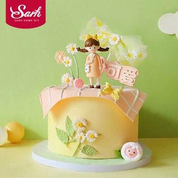 Vestido para Paseo Sun flower Little Daisy Girl, decoración de pastel de cumpleaños, decoraciones de fiesta para hornear, regalos encantadores