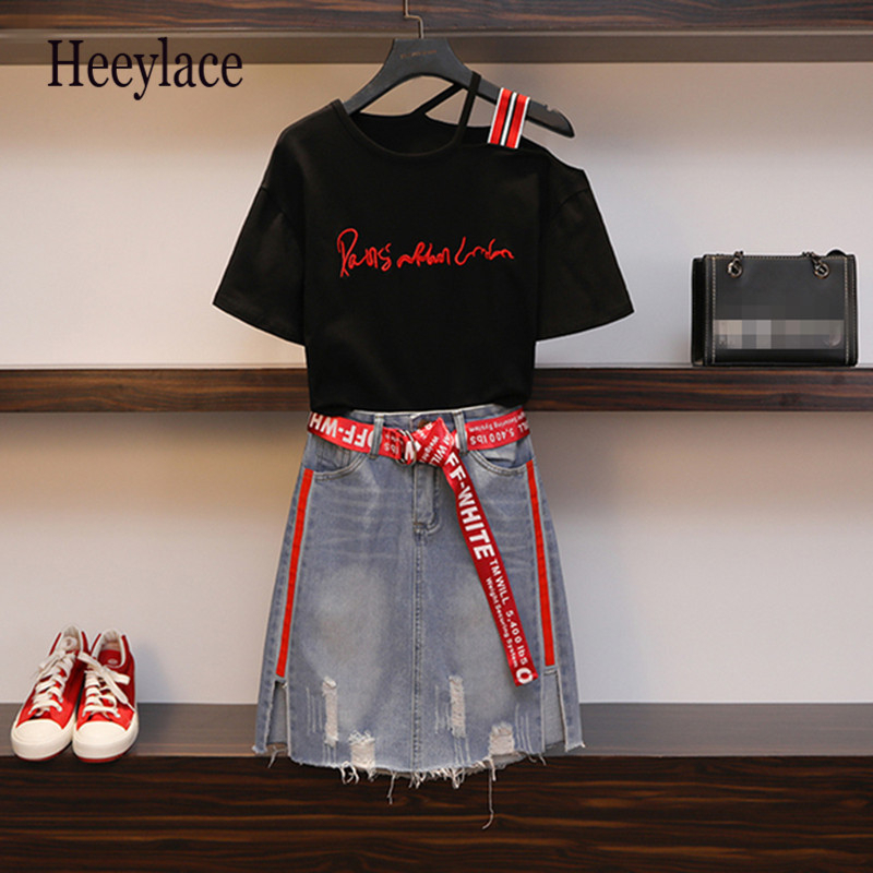 Plus Size 2019 Summer Women 's Denim Skirt Suit New Embroidery Slash Neck Strapless Tshirt +Tassel Jean Skirt 2 Piece Set L-4XL