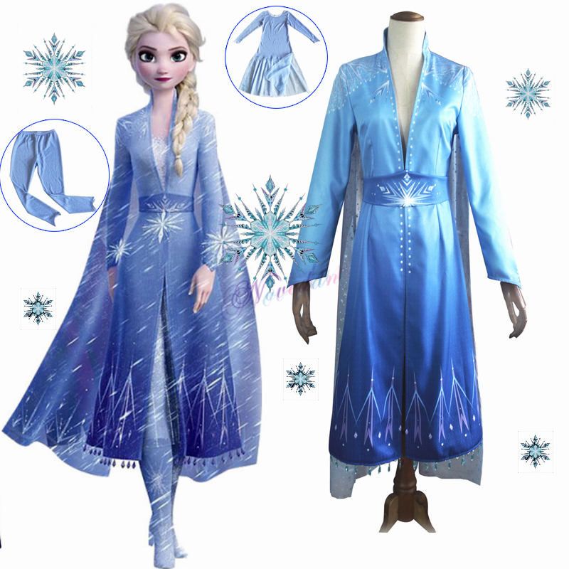 New Adult Elsa Costume Snow Queen Ice Princess Cosplay Froz 2 Halloween Carnival Party Dress Disfraz Fancy Cartoon Costume